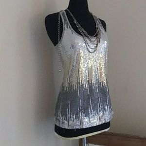 Silver Sequined Tank